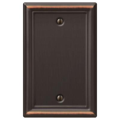 Ascher 1 Gang Blank Steel Wall Plate - Aged Bronze