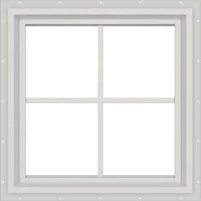 23.5 in. x 23.5 in. V-4500 Series White Vinyl Fixed Picture Window with Colonial Grids/Grilles