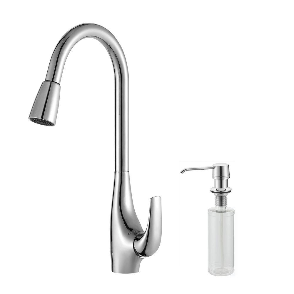 KRAUS Single-Handle High Arc Pull-Down Kitchen Faucet with Dual-Function Sprayer with Soap Dispenser in Chrome