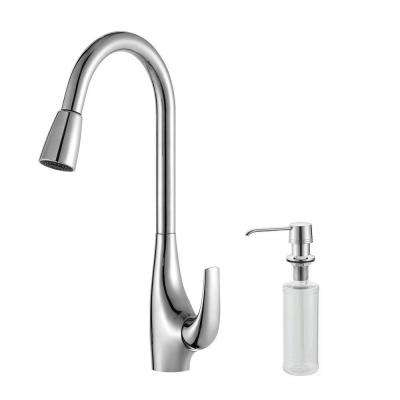 Single-Handle High Arc Pull-Down Kitchen Faucet with Dual-Function Sprayer with Soap Dispenser in Chrome