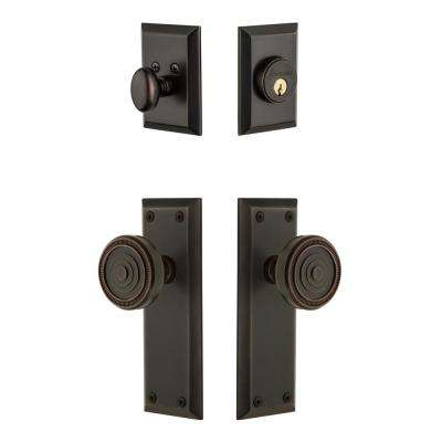 Fifth Avenue Plate 2-3/8 in. Backset Timeless Bronze Soleil Door Knob with Single Cylinder Deadbolt