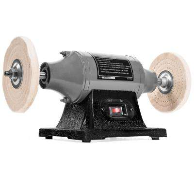 6 in. 1/2 hp Electric Heavy-Duty Buffer Benchtop Dual Pad Polisher Grinder