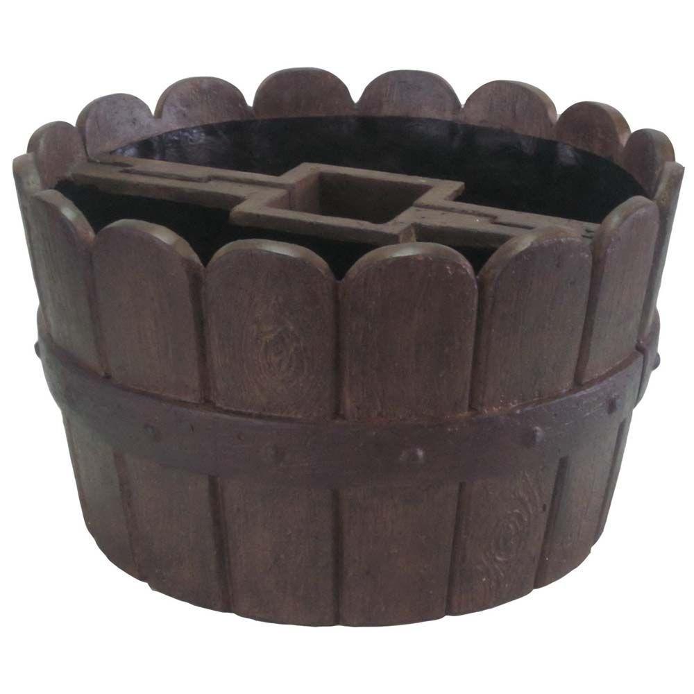 "20/"" Dia Cast Stone Mailbox Planter Barrel Lightweight Weather Resistant 2 Parts"
