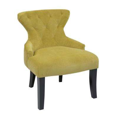 Curves Basil Velvet Fabric Hour Glass Accent Chair with Espresso Legs