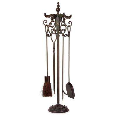 Lenor 36 in. Black Wrought Iron Fireplace Tool Set
