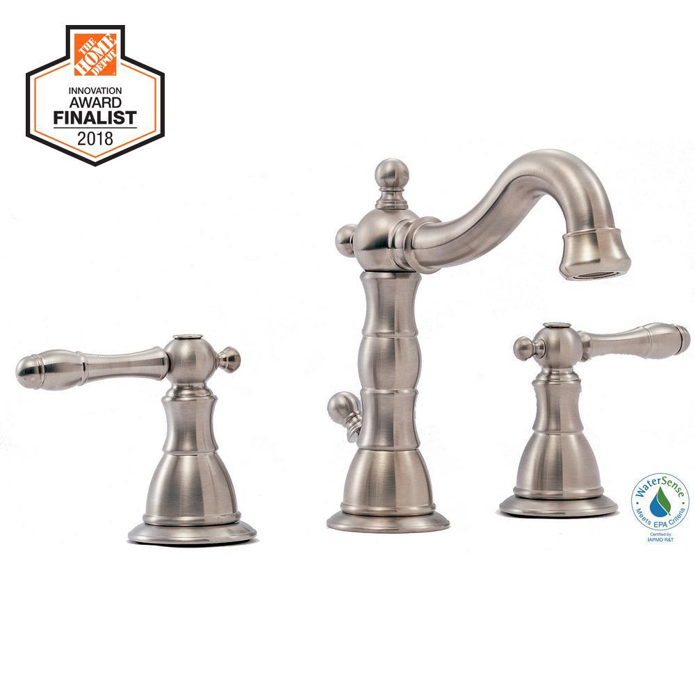 Glacier Bay Lyndhurst 8 in. Widespread 2-Handle High-Arc Bathroom Faucet in