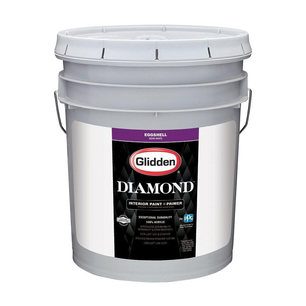 Perfect Glidden Diamond 5 Gal. Pure White Eggshell Interior Paint And Primer GLD  7211 05   The Home Depot