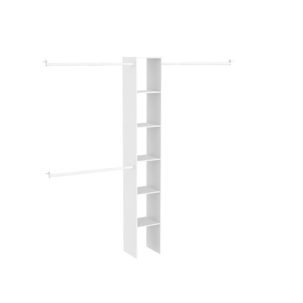 ClosetMaid 11.5 in. D x 12 in. W x 83 in. H White Custom Laminate Closet System Organizer