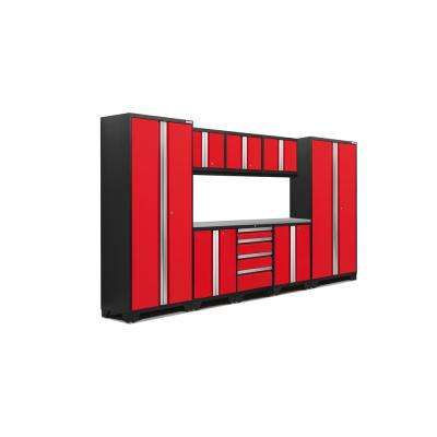 Bold 3.0 132 in. W x 75.25 in. H x 18 in. D 24-Gauge Welded Steel Stainless Steel Worktop Cabinet Set in Red (9-Piece)