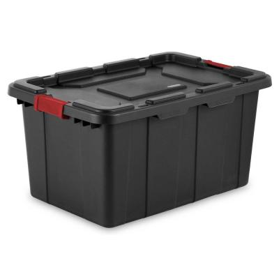 27 Gal. Durable Rugged Industrial Tote with Red Latches, Black (8-Pack)