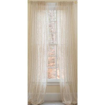 Tafetta Beige Stripe Sheer Rod Pocket Window Curtain - 52 in. W x 108 in. L