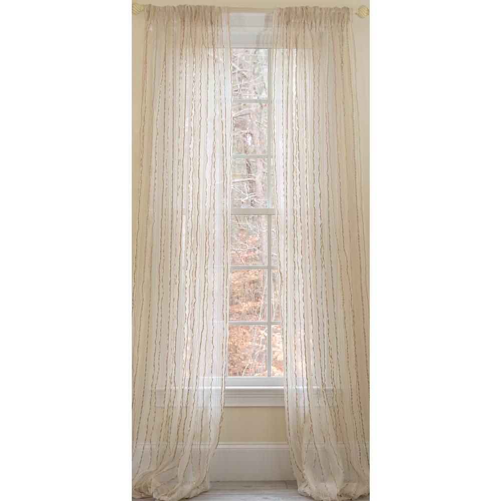 Tafetta Stripe Sheer Rod Pocket Window Curtain, 52 by 84-Inch, Single Panel, Beige