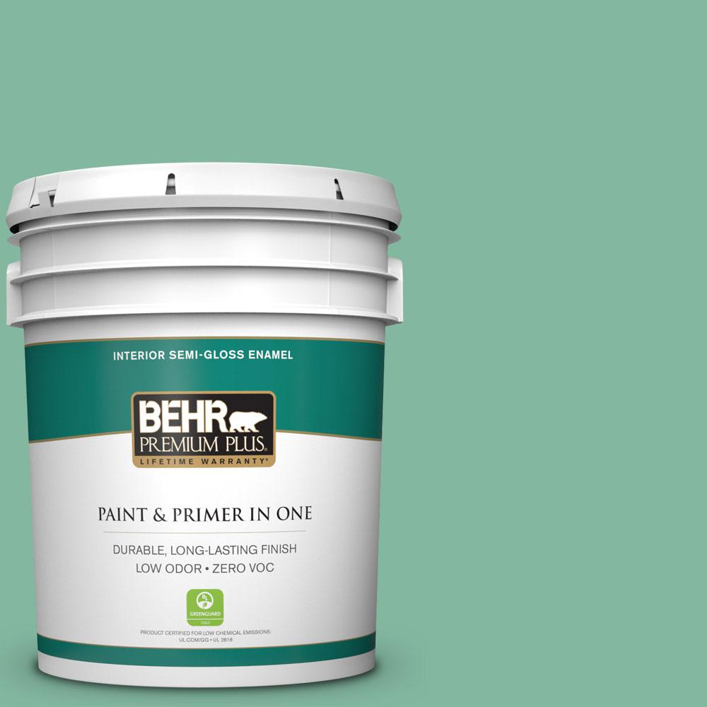5-gal. #480D-4 Indian Ocean Zero VOC Semi-Gloss Enamel Interior Paint