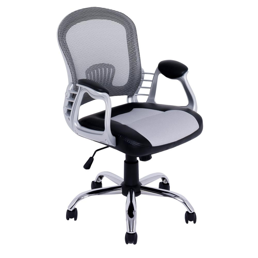 corliving workspace black leatherette and grey mesh office chair lof