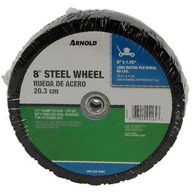 8 in. x 1.75 in. Universal Steel Wheel with Shielded Ball Bearings for Extended Life and an Offset Hub