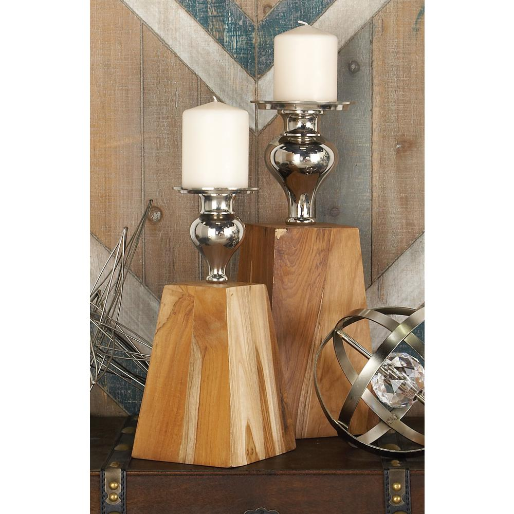 15 in. Natural Brown Teakwood and Silver Aluminum and Iron Trapezoidal