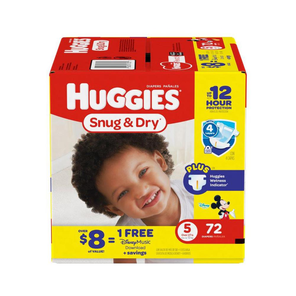 Huggies Snug And Dry Diapers Size 5 Big 72 Count