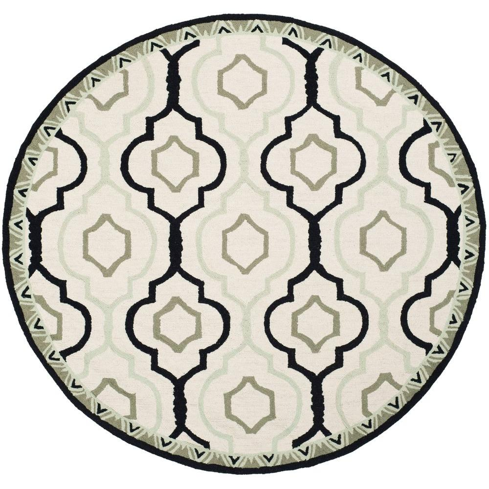 Safavieh Chelsea Ivory/Black 5 ft. 6 in. x 5 ft. 6 in. Round Area Rug