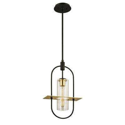 Smyth Dark Bronze 1-Light 12.5 in. W Outdoor Hanging Light with Clear Glass