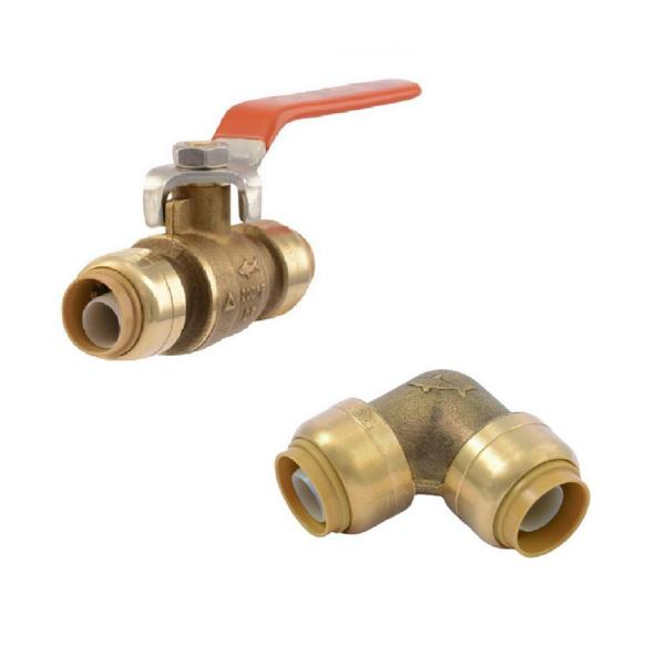 1/2 in. Push-to-Connect Brass 90-Degree Elbow Fitting and 1/2 in. Push-to-Connect Brass Ball Valve