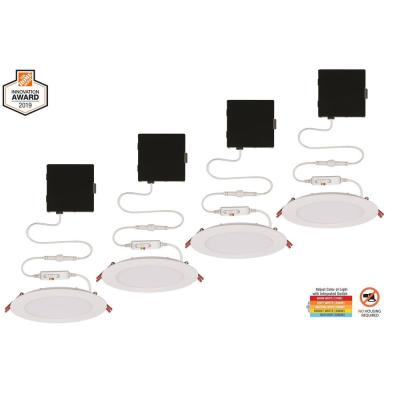 Ultra Slim 6 in. Color Selectable New Construction and Remodel Canless Recessed Integrated LED Kit (4-Pack)