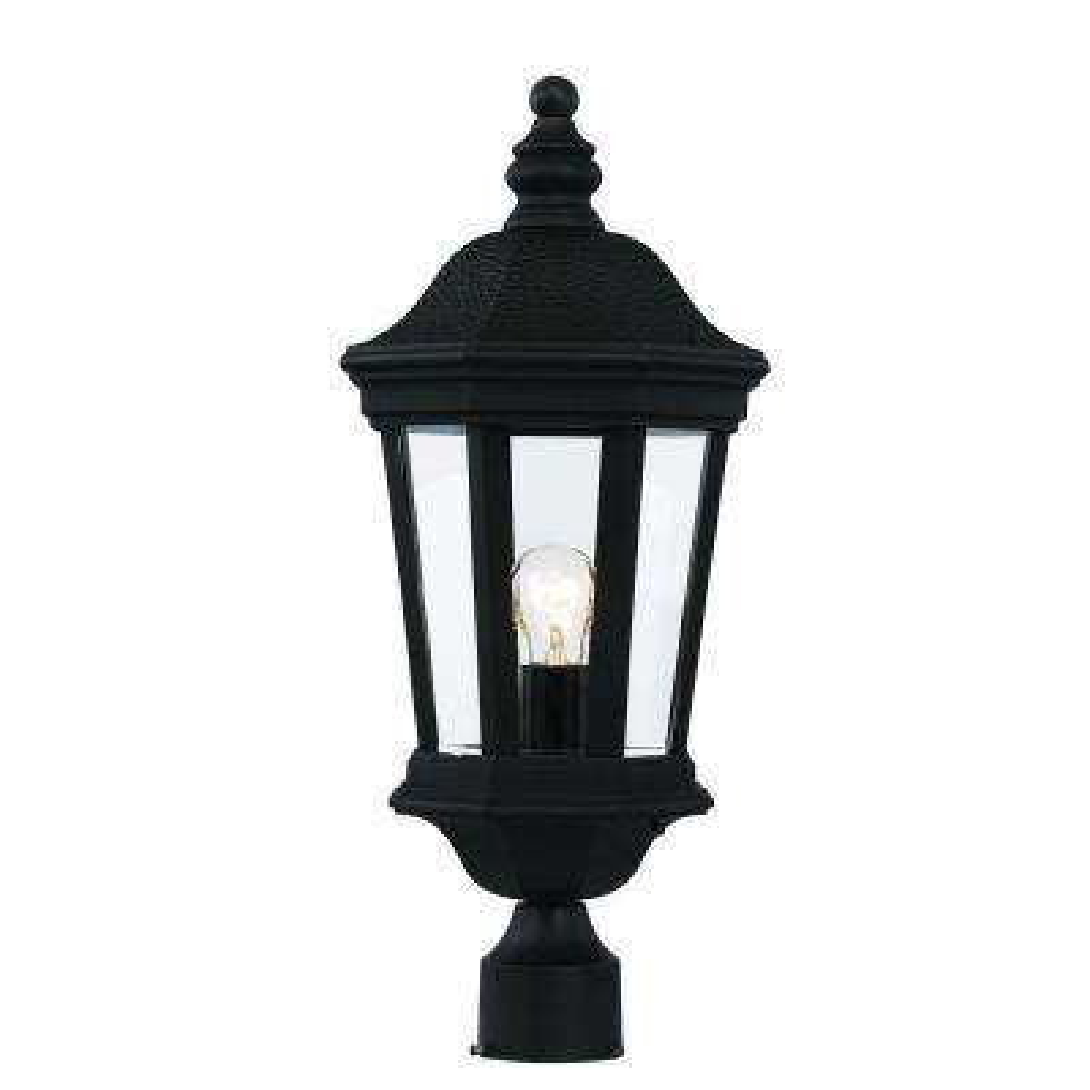 1-Light Black Outdoor Chateau Villa Post Lantern