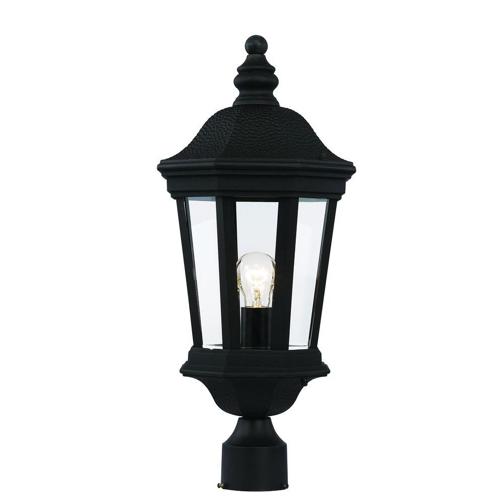 Bel Air Lighting 1 Light Black Outdoor Cau Villa Post Lantern
