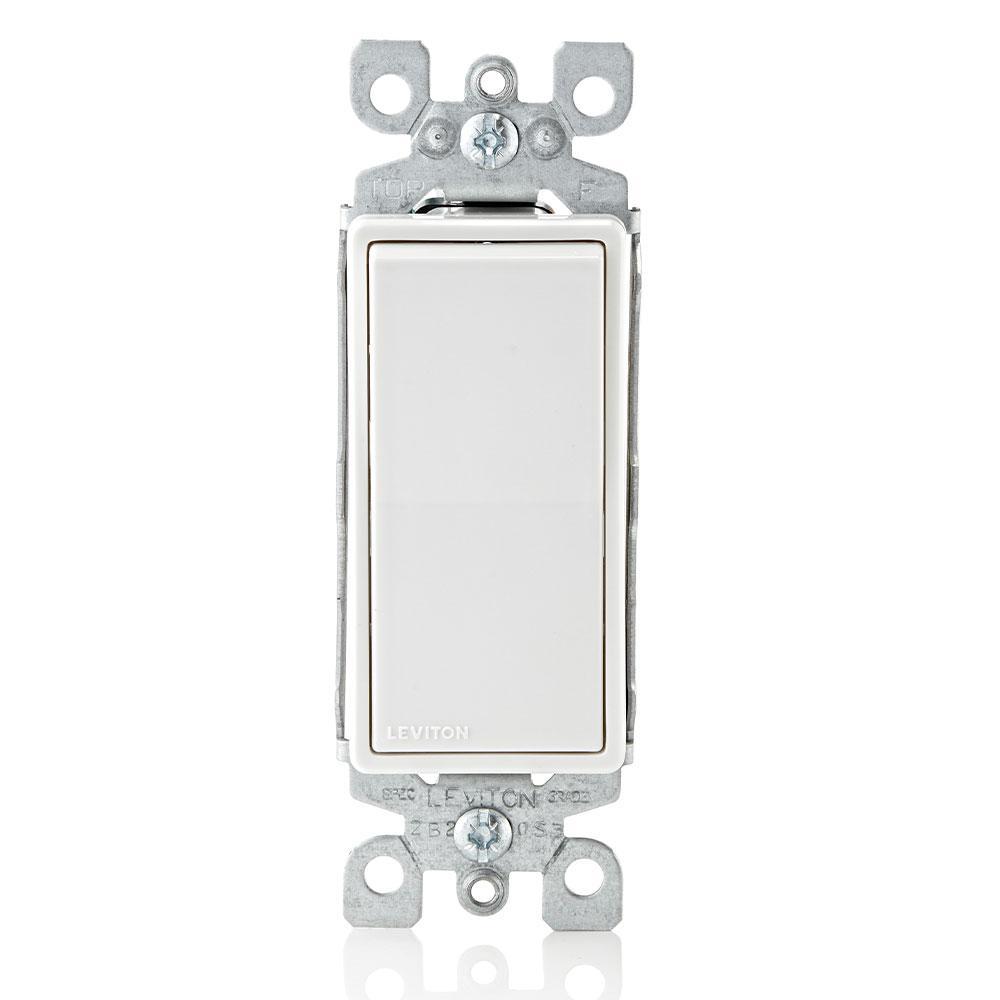 Decora 15 Amp Single Pole Rocker AC Quiet Light Switch, White (10-Pack)