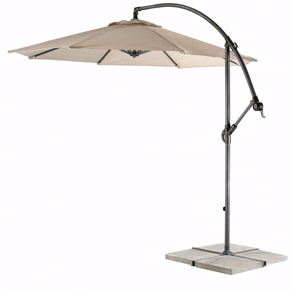 Home Decorators Collection 10 Ft Cantilever Patio Umbrella In Smoke With Black Frame 6249610460