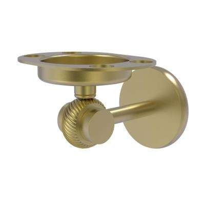 Satellite Orbit Two Collection Tumbler and Toothbrush Holder with Twisted Accents in Satin Brass