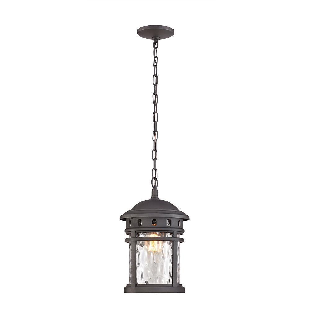 1 Light Black Outdoor Pendant