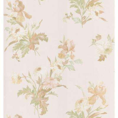 Kitchen and Bath Resource II Neutral Iris Floral Wallpaper Sample