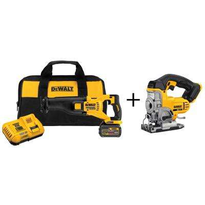 FLEXVOLT 60-Volt MAX Lithium-Ion Cordless Brushless Reciprocating Saw Kit with Bonus 20-Volt Max Jig Saw
