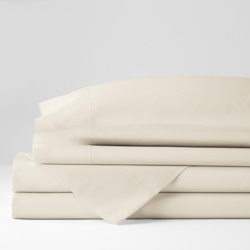 4-Piece Ivory Solid 400 Thread Count Supima Cotton Percale King Sheet Set