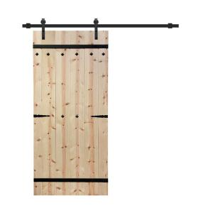 Pre Assembled Arrow Series 36 in. x 84 in. Unfinished Wood Interior Sliding Barn Door With Installation Hardware Kit