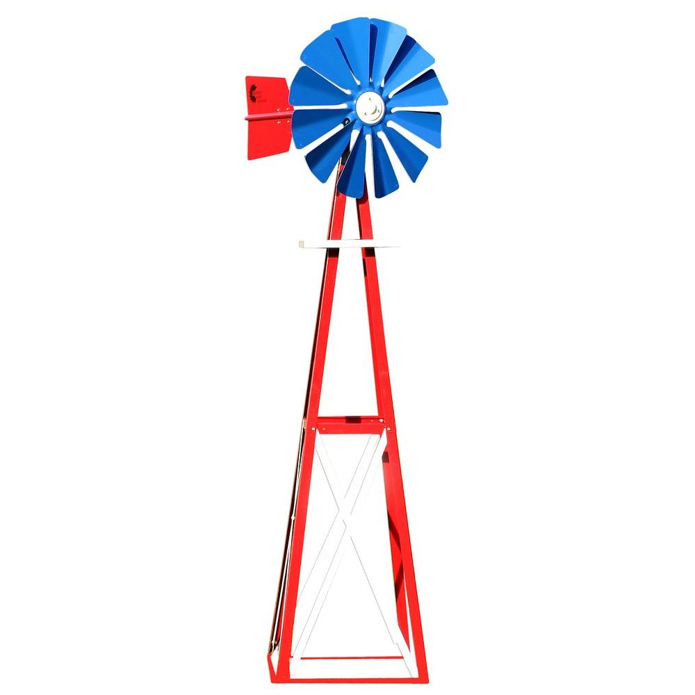 null 99 in. Small Red, White and Blue Powder Coated Backyard Windmill