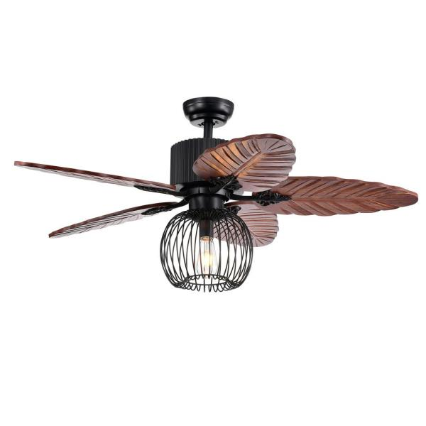Aguano 48 in. Indoor Black Finish Remote Controlled Ceiling Fan with Light Kit