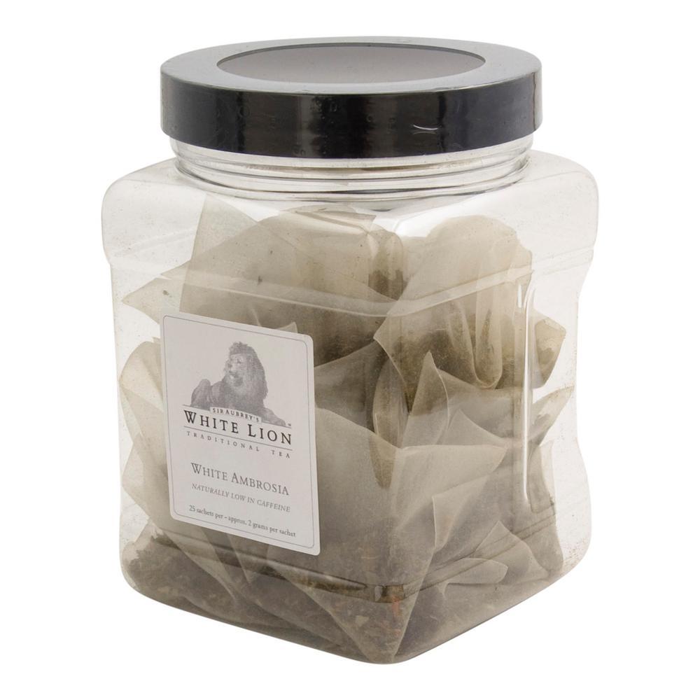 Tea White Ambrosia Bulk 25 Sachets Retail Canister Tea Bags Sachets (25 per Pack)