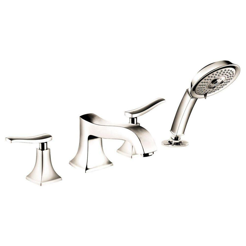 Hansgrohe Metris C 2-Handle Deck-Mount Roman Tub Faucet with Hand Shower in Polished Nickel