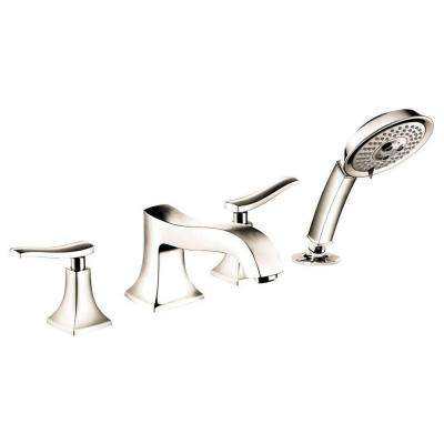 Metris C 2-Handle Deck-Mount Roman Tub Faucet with Hand Shower in Polished Nickel
