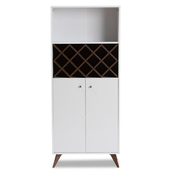 Baxton Studio Serafino 10-Bottle White and Walnut Brown Wine Cabinet 150-8997-HD