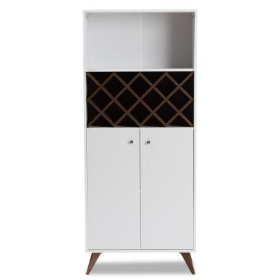 Serafino 10-Bottle White and Walnut Brown Wine Cabinet