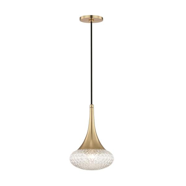 Bella 1-Light Aged Brass 12.75 in. H Pendant with Clear Glass