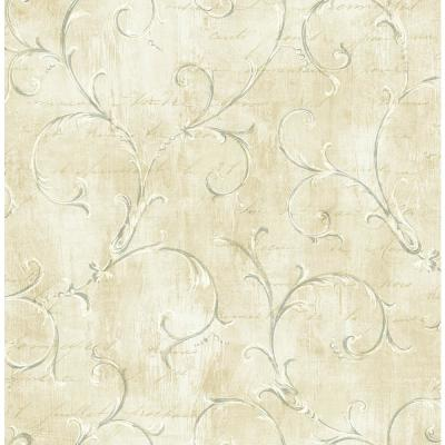 Charleston Scroll Oat and Steel Blue Calligraphy Wallpaper
