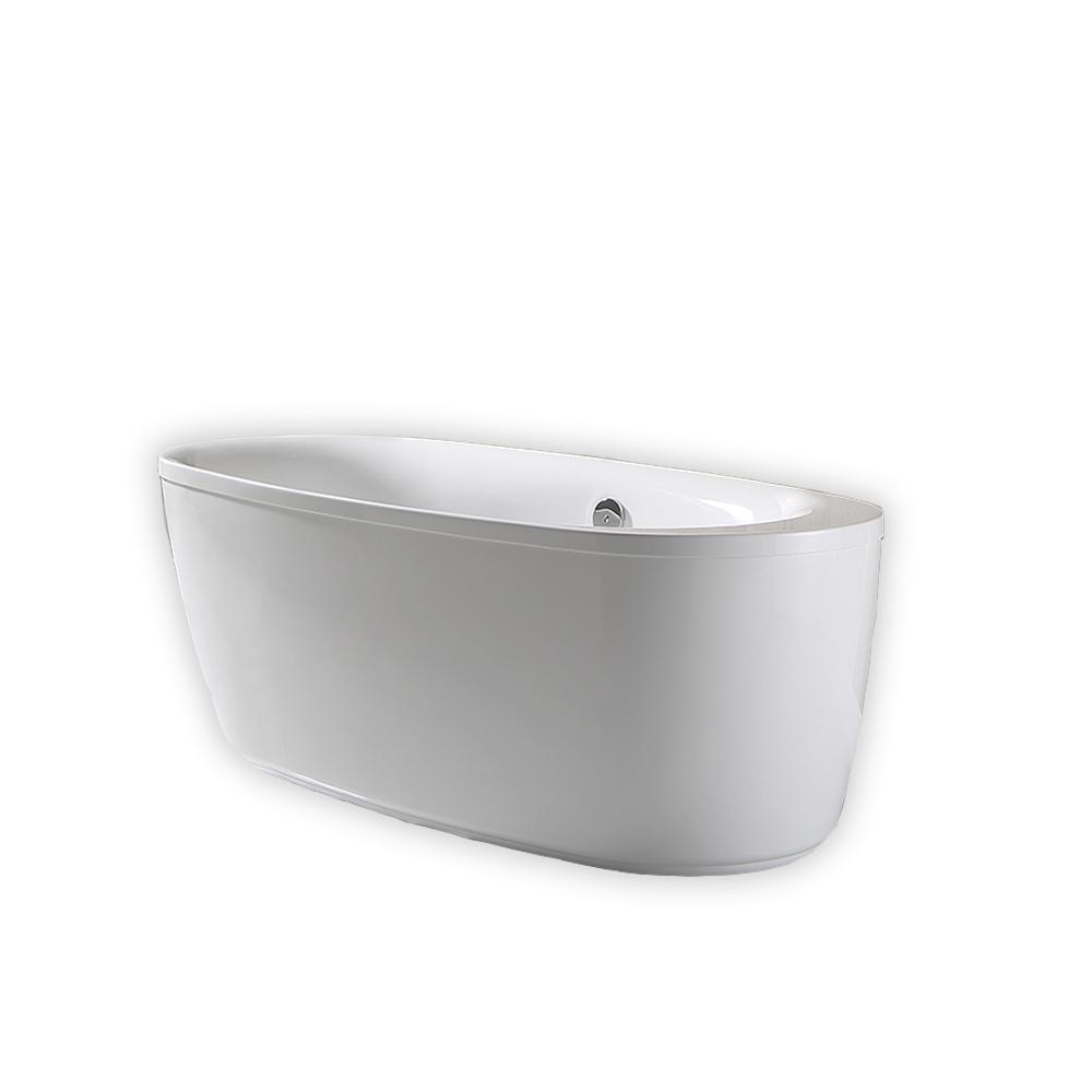 OVE Decors Leni 66 In. Acrylic Flatbottom Freestanding Bathtub In White