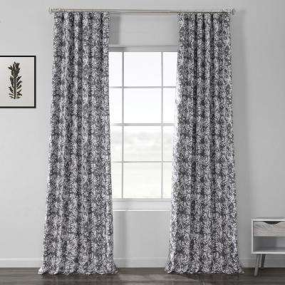 Botanic Gray Printed Linen Textured Blackout Curtain - 50 in. W x 120 in. L (1-Panel)
