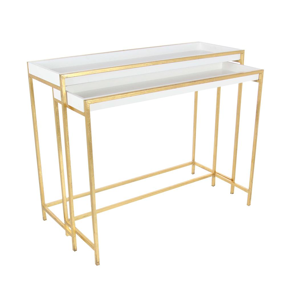 Modern metal and wood console tables in gold set of 2 65645 null modern metal and wood console tables in gold set of 2 geotapseo Images