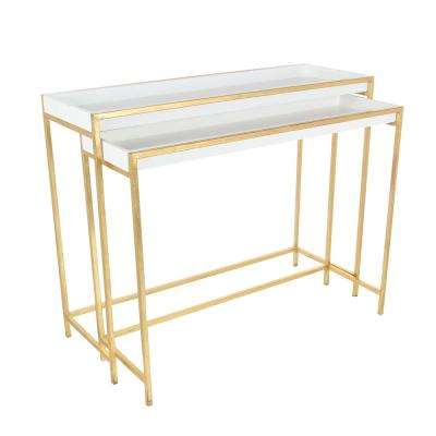 Modern Metal and Wood Console Tables in Gold (Set of 2)
