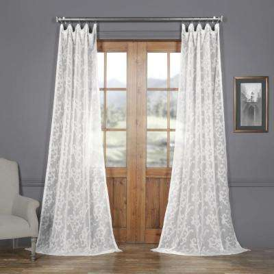 Paris Scroll White Patterned Linen Sheer Curtain - 50 in. W x 108 in. L