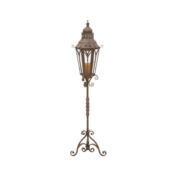 Litton Lane Rusted Brown Candle Holder